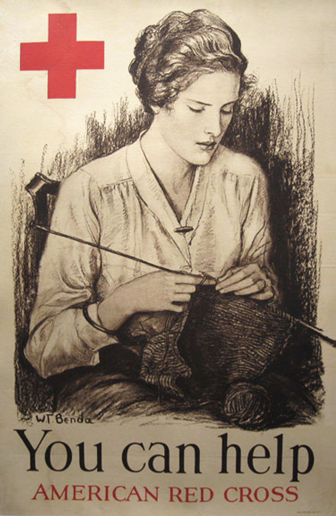 You can help American original vintage WWI poster by W.T. Benda from 1919 USA. Woman sitting and knitting advertisement for Red Cross.