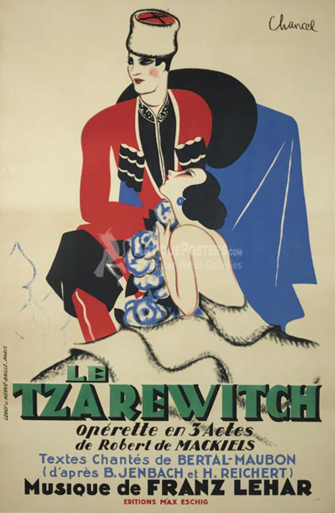 Le Tzarewitch Operette original advertising lithography vintage poster by Chancel from 1930 France.