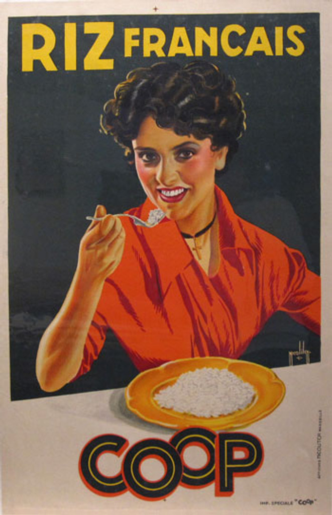 Riz Francais Coop by Nicolitch original vintage poster from 1936 France.