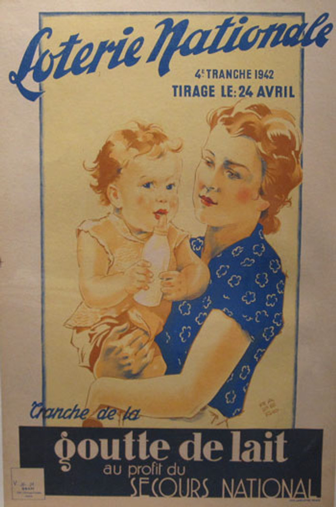 Loterie Nationale by Rapeno original vintage poster from 1942 France