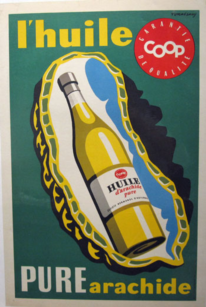 L Huile Pure by Turresany original vintage poster from 1950 France