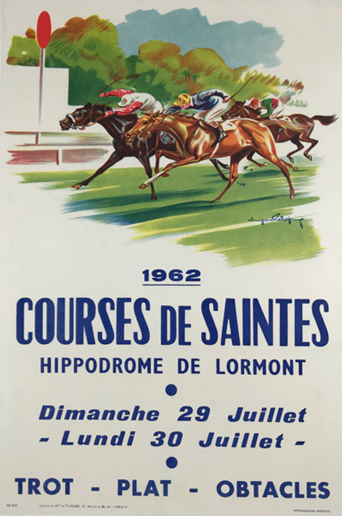 1962 French Courses De Saintes Hippodrome De Lormont Poster