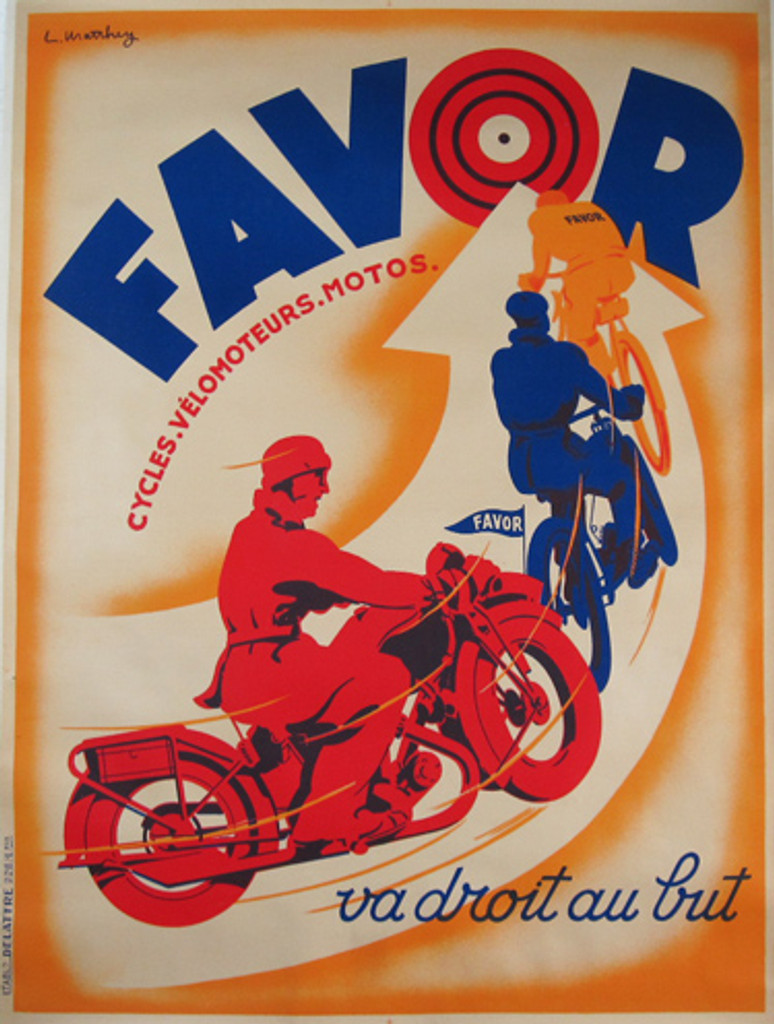 Favor Scooters Motorcycles Bicycles Posters. French original transportation poster features 3 riders, red blue and orange riding on a curved arrow towards bullseye.