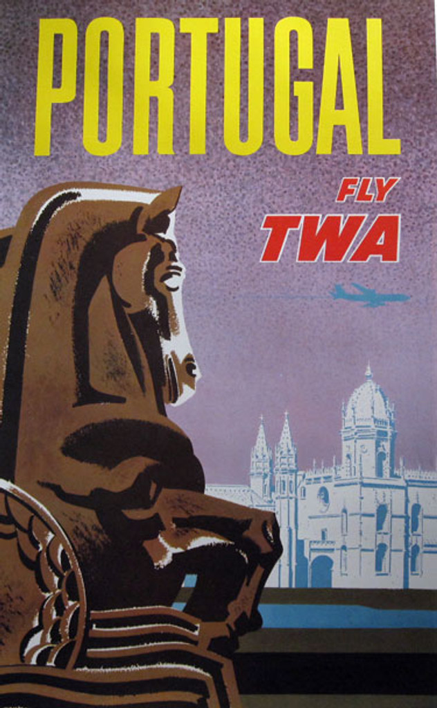 Portugal Fly TWA from 1964 USA. This vertical vintage poster featuring the Hieronymites Monastery in the background and horse sculptures in Belem Garden Park.