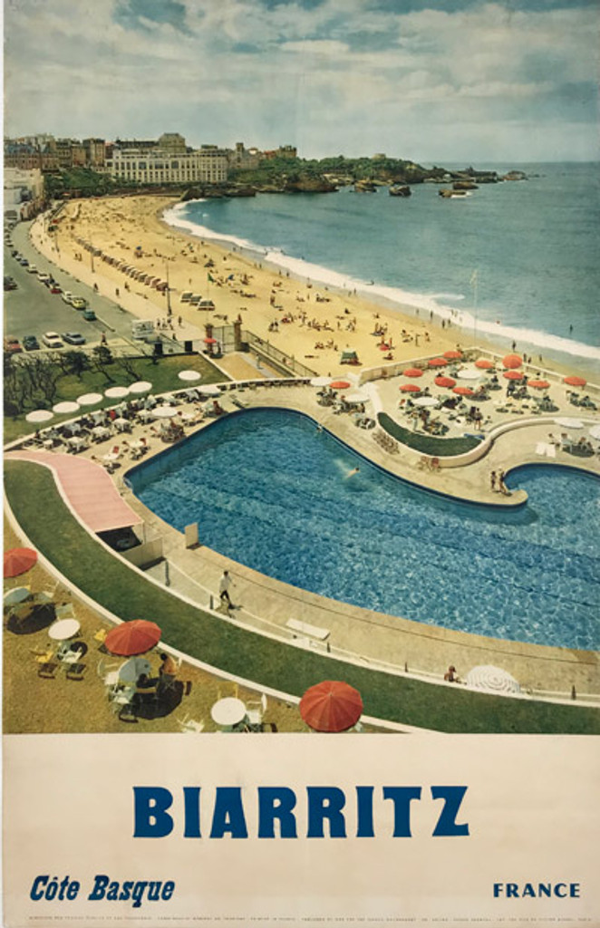 1962 Biarritz Cote Basque Travel Poster