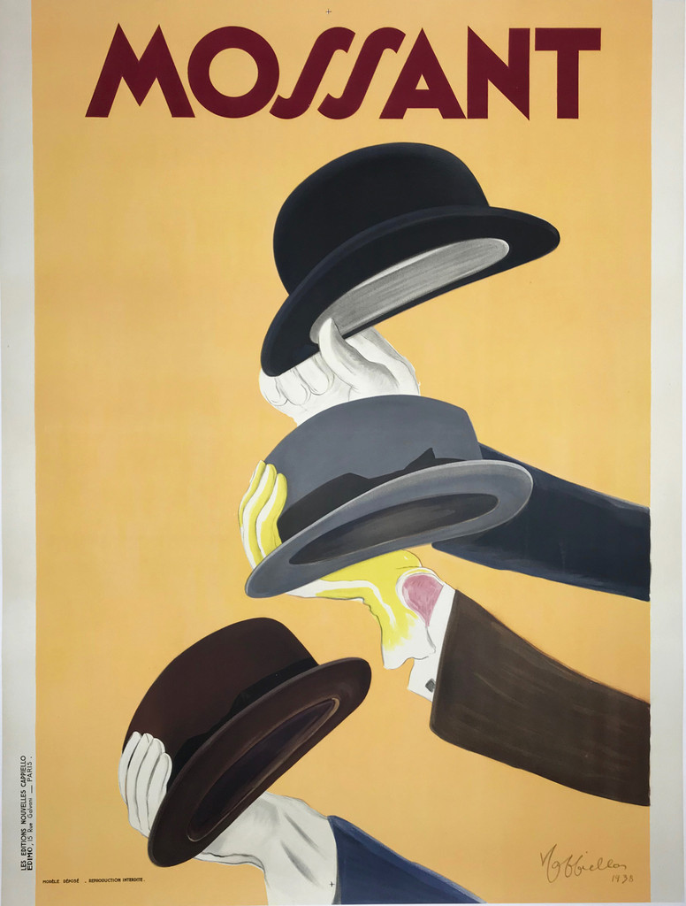Chapeaux Mossant original vintage poster by Leonetto Cappiello from 1938. Great art deco advertisement features three stylish hats held up with gloved hands against a yellow background.