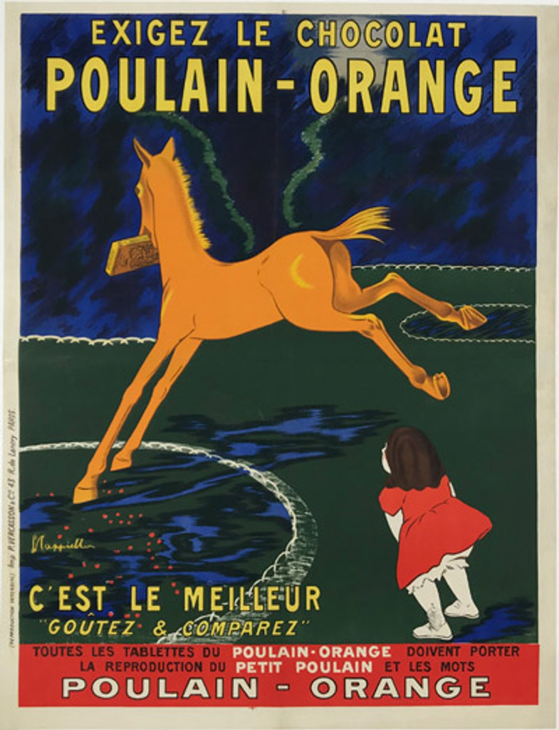French 1909 Chocolat Poulain Orange Poster by Cappiello