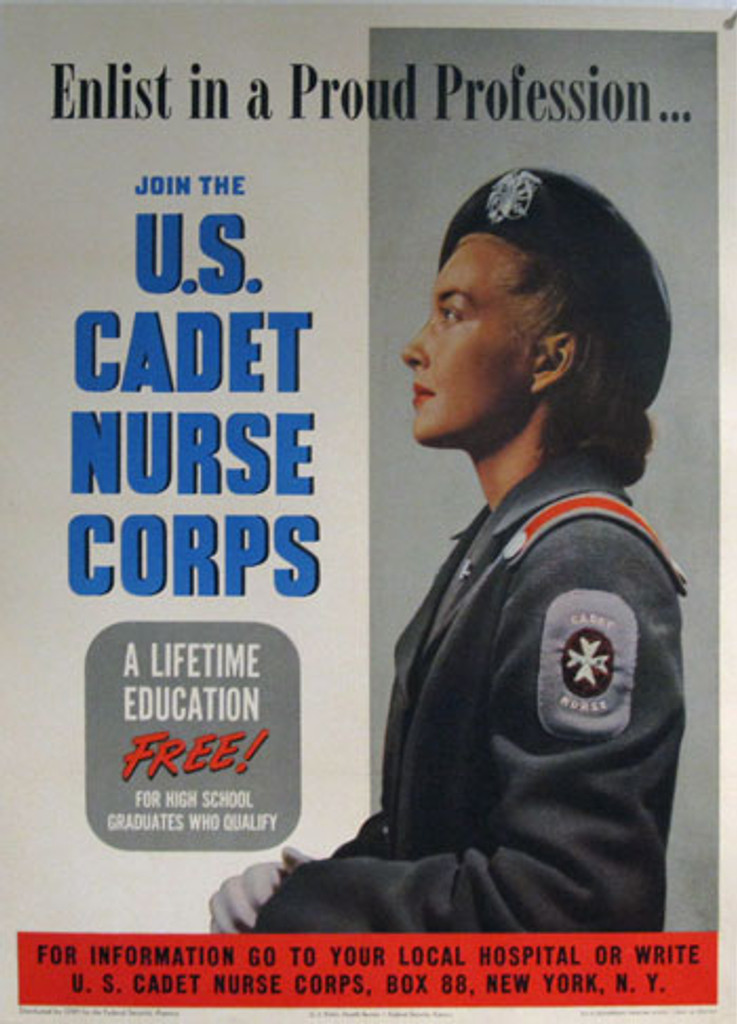 American war war2  poster from 1943 Join the U.S. Cadet Nurse Corps. Original vintage posters. Shows a woman wearing a gray dress cadet nurse uniform.