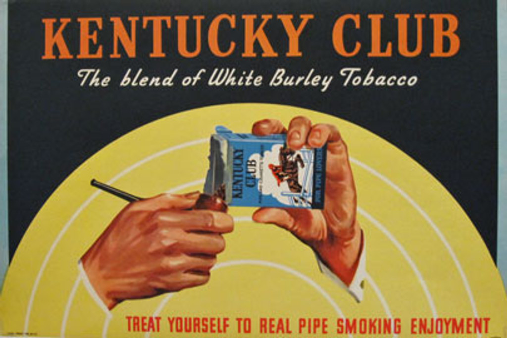 Kentucky Club The blend of White Burley Tobacco original vintage poster from 1948 USA.