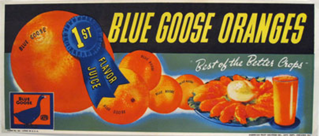 Blue Goose Oranges 1st Flavor Juice original vintage poster from 1948 USA