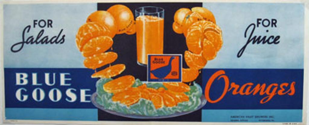 Blue Goose Oranges For Salads For Juice original vintage poster from 1948 USA