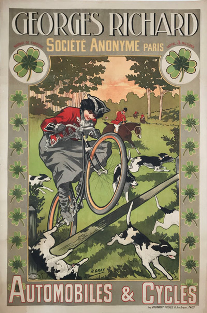 1898 French Georges Richard Automobiles Cycles Poster
