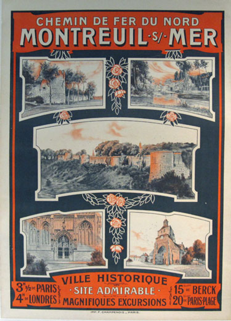 Chemin De Fer Du Nord Montreuil - Mer Ville Historique original French travel poster from 1900 printed by Imp. F. Champenois.