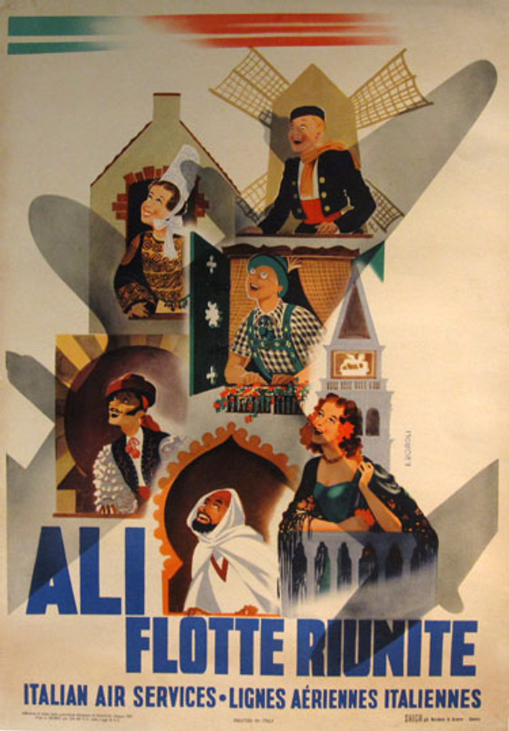 This vertical Italy travel poster features the shadow of plane in the center with happy people from different cultures who are looking for a plane. Ali Flotte Riunite by Filippo Romoli from 1951 Italy.