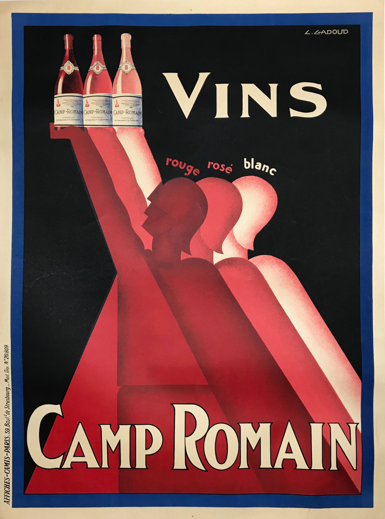 Camp Romain Vins 1930 France by Gadoud. This vertical french wine and spirits poster features 3 graphic figures, rouge, rose and blanc, holding up bottles against a black background.