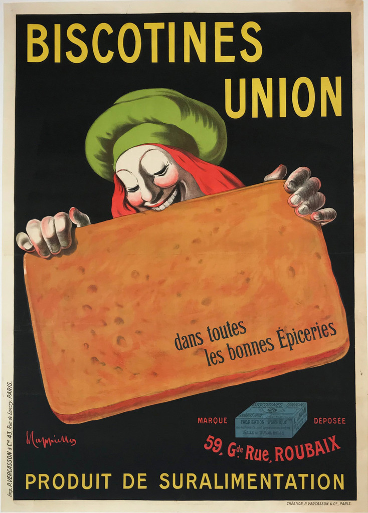 Biscotines Union original vintage food poster by Leonetto Cappiello from 1906 France.