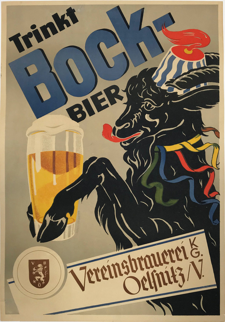 Bock Bier original advertisement lithography antique poster from 1926 Germany. Shows a goat in a hat and ribbon collar holding a glass of beer in his hooves as he licks his lips.