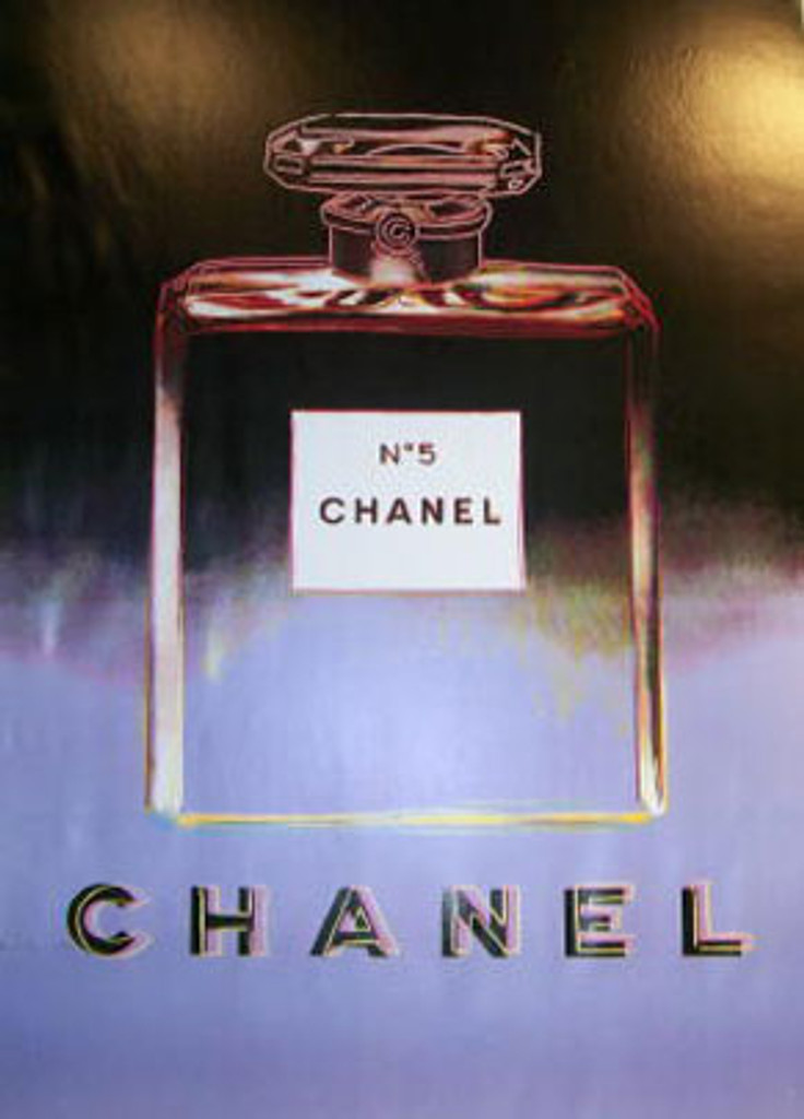 Chanel No5 (Black/Purple) original advertisement lithograph vintage poster by Andy Warhol Foundation from 1997 France. Shows a bottle of perfume (Chanel No. 5) on black and purple background.