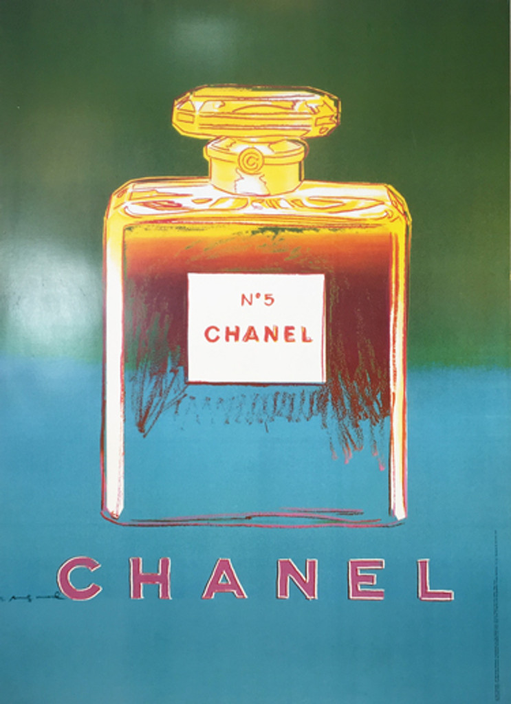 Chanel No5 (Green/Blue) original advertisement lithograph vintage poster by Andy Warhol Foundation from 1997 France. Shows a bottle of Chanel perfume on green and blue background.