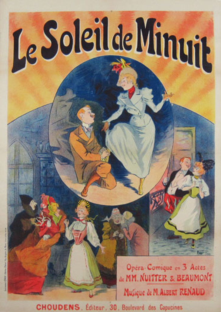 Le Soleil de Minuit original vintage poster by Rene Pean from 1898 - French theater poster features 3 scenes, a man tying a woman's shoe, a couple walking and a woman in a crowded street.