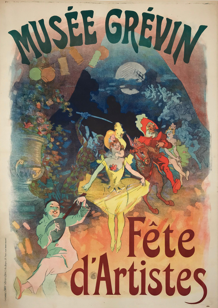 Musee Grevin Fete d'Artistes original advertising lithography theater and exhibition poster by famous artist Jules Cheret from 1900 France.
