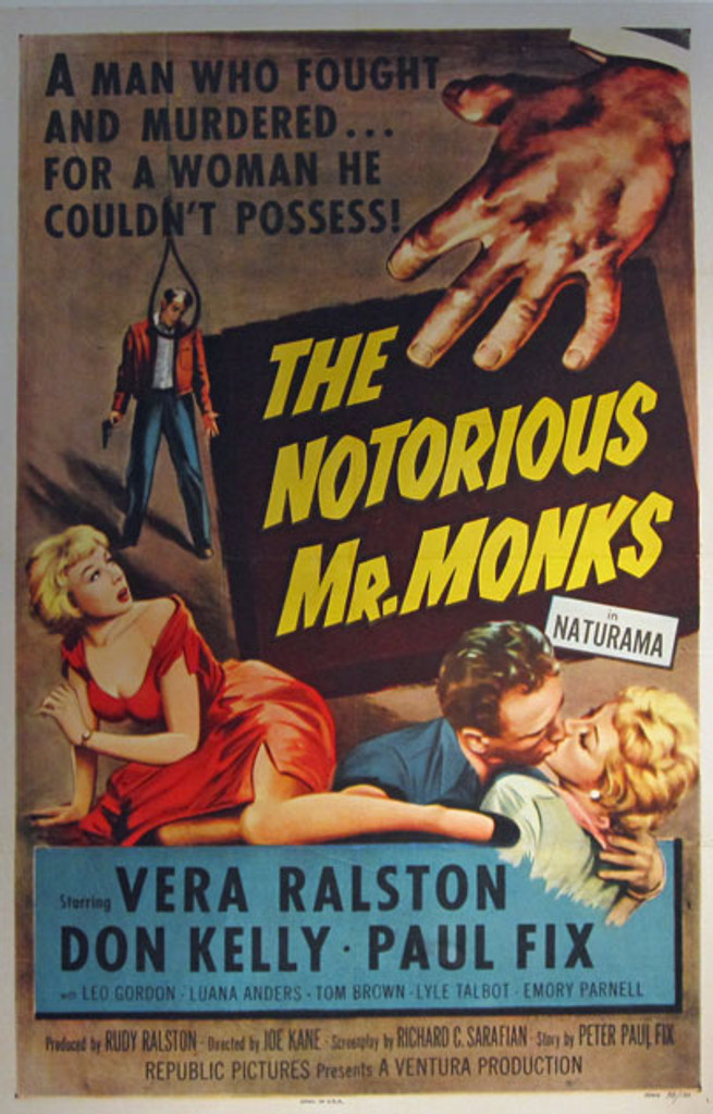 The Notorious Mr. Monks in Naturama original movie poster from 1958 USA