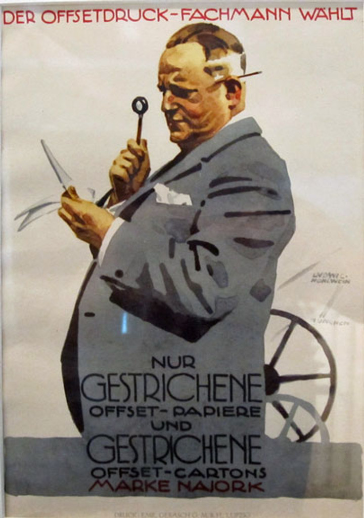 Nur Gestrichene Offset-Papiere by Ludwig Hohlwein original vintage poster from 1926 Germany
