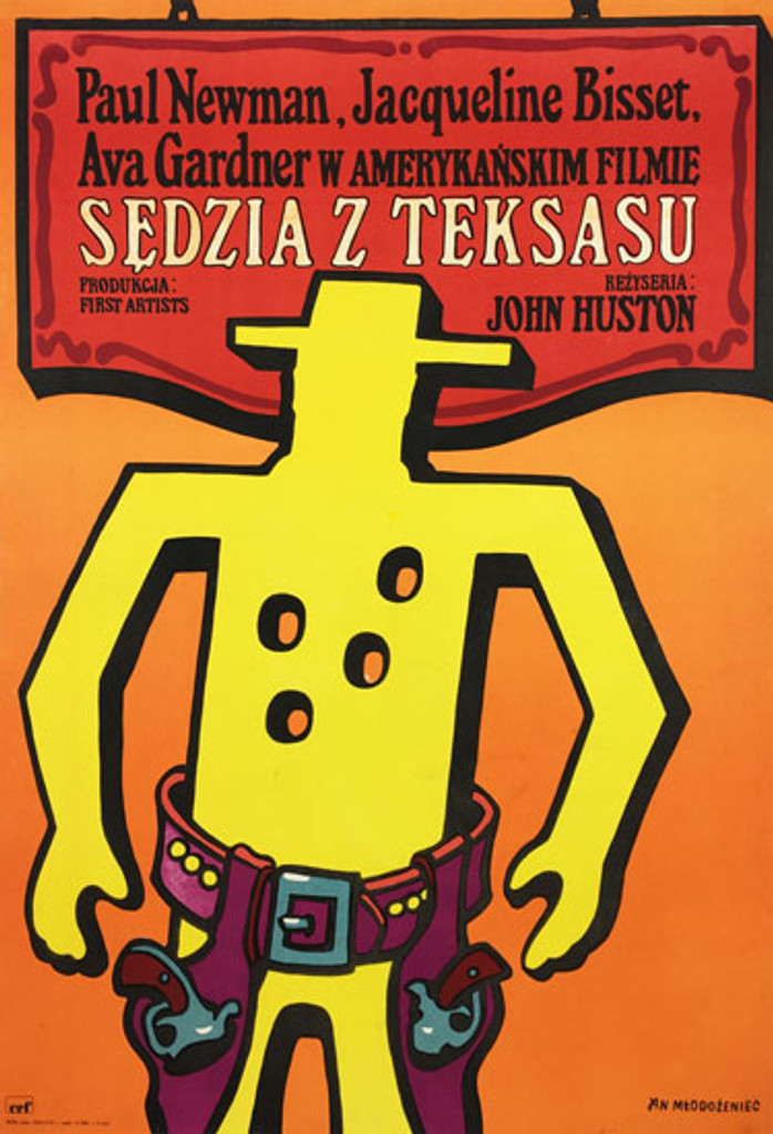 Sedzia z Teksasu [The Life and Times of Judge Roy Bean] original polish poster by Jan Mlodozeniec from 1975