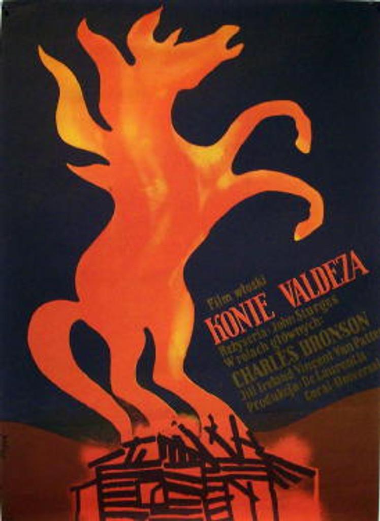 Konie Veldeza (The Veldez Horses) original Polish poster by Jerzy Flisak from 1977