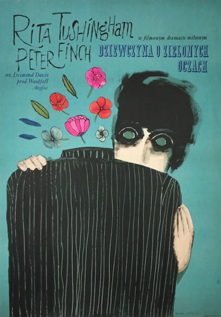 Dziewczyna o Zielonych Oczach - Girl with Green Eyes original Polish poster by Mucha Ihnatowicz from 1967.
