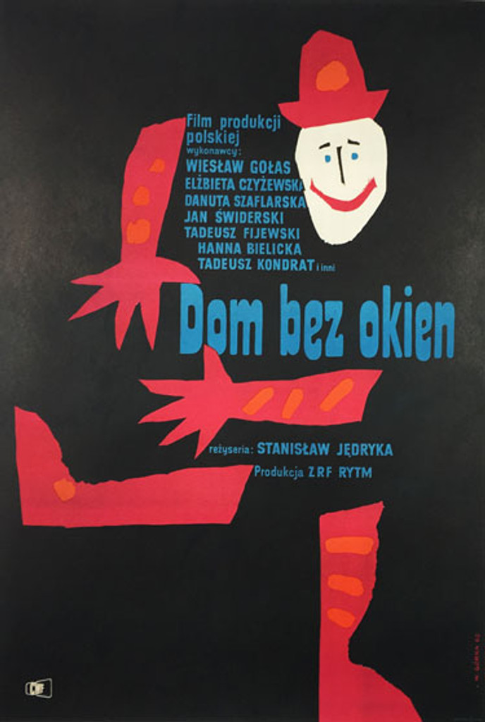 Dom bez Okien (House without windows) original movie poster by Wiktor Gorka from 1962 Poland.