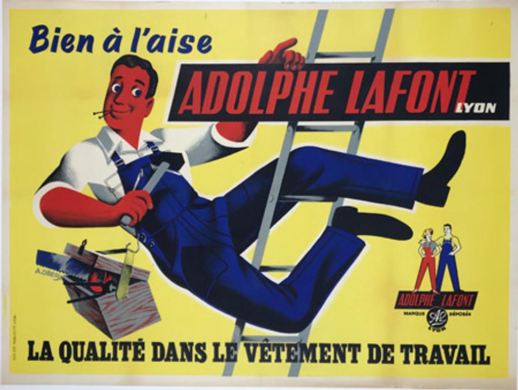 Adolphe Lafont Lyon Vetement original French 1950 vintage poster by A. Oberj.