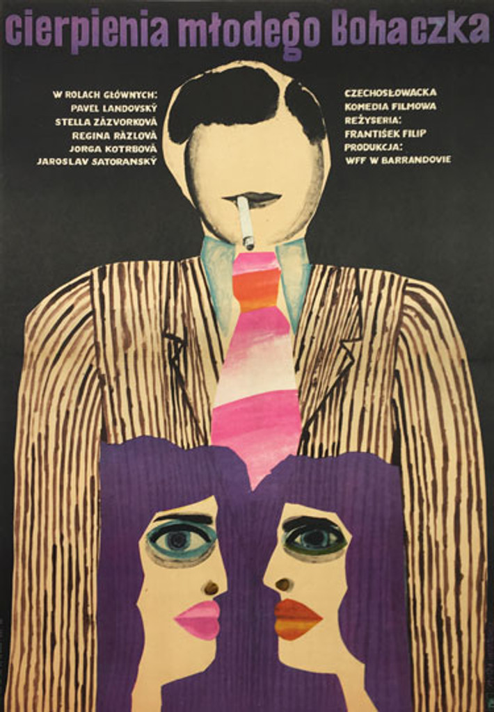 Suffering young Bohaczka authentic polish advertising poster by Ihnatowicz from 1969. Shows a figure of man smoking a cigarette. Below are two figures of girls in purple hairs.