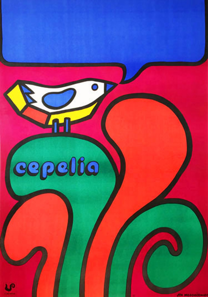 Cepelia original polish advertising poster by Mlodozeniec  from 1973 Poland. Polish Art And Handicraft Foundation