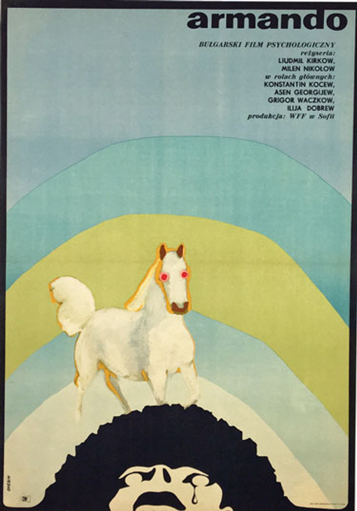 Andrzej Onegin-Dabrowski Poster Armando Polish Movie Polski Film - Plakat. Original Antique Poster from 1970 Poland, white horse on a blue and yellow rainbow background running on top of a heat of man.