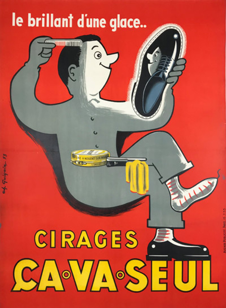 Cirages Ca Va Seul original vintage poster from 1953 by Ch. Guigain, French shoe polish product advertisement.