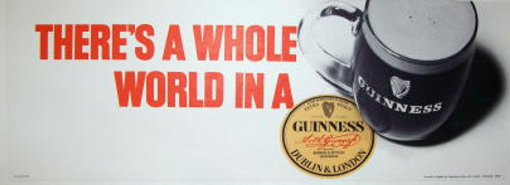 There's a whole world in Guinness original vintage advertising poster from 1960's England