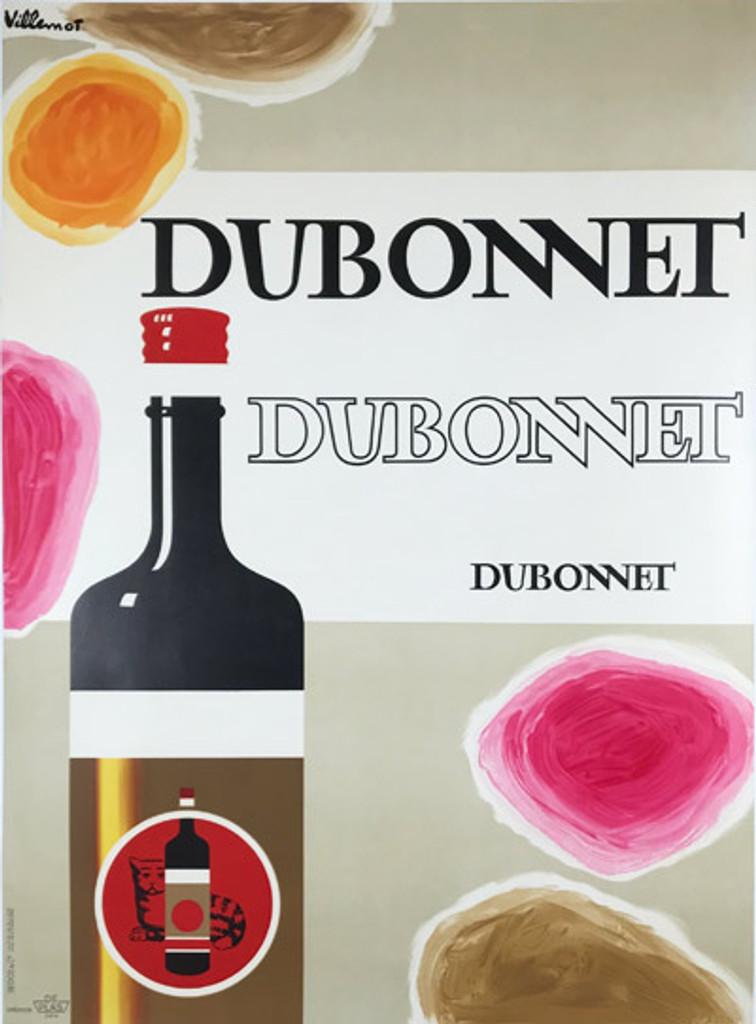 Dubonnet Original Vintage Wine Poster by Bernard Villemot from 1967 France.