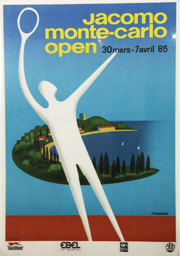 Jacomo Monte-Carlo Tennis Open by Fix-Masseau original vintage poster from 1985 France
