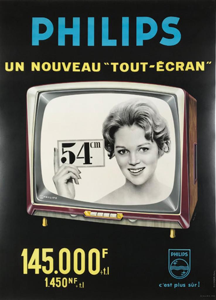 Philips Un Nouveau Tout - Ecran original mid century modern French poster by Elvinger.