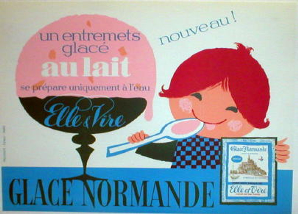 Glace Normande original vintage poster from 1952 France