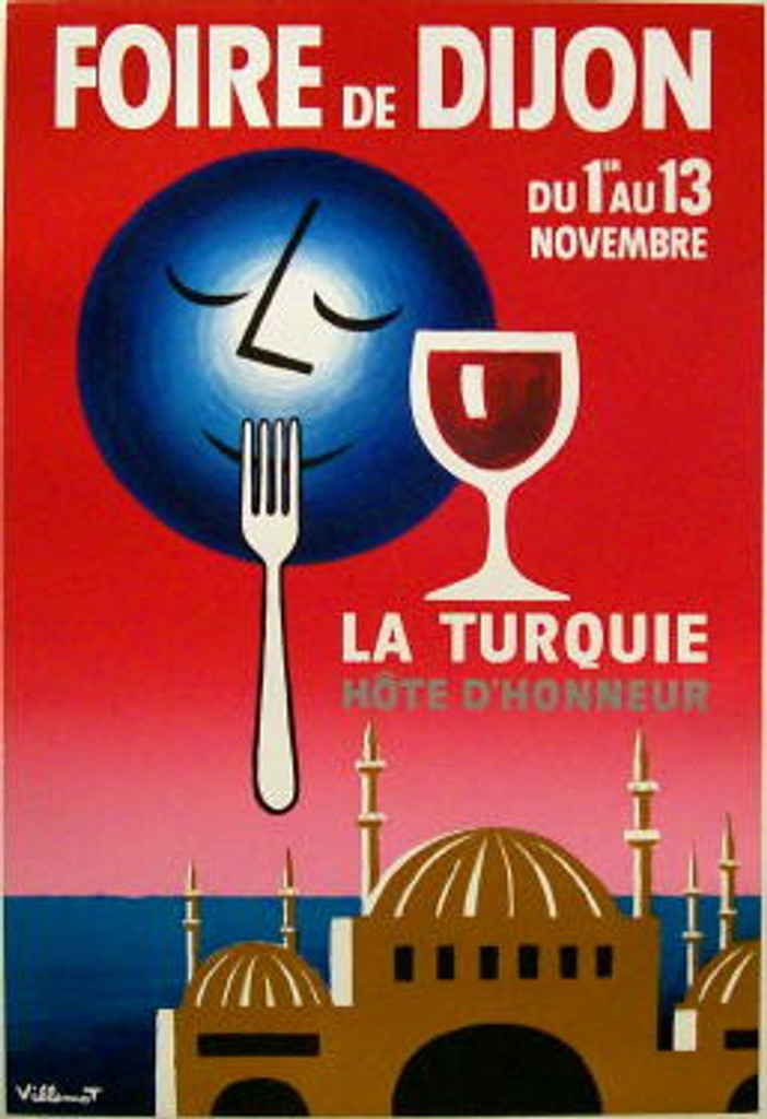 Foire De Dijon original vintage poster by Bernard Viellemot from 1954. French food advertisement features a blue moon over the water and red sky near a domed building with a fork up to its mouth and glass of wine next to him