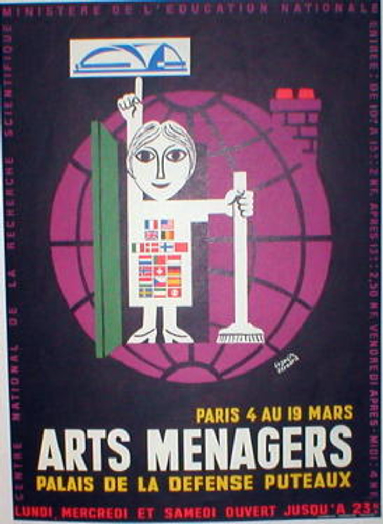 Arts Menagers by Francis Bernard original vintage poster from 1950's France.