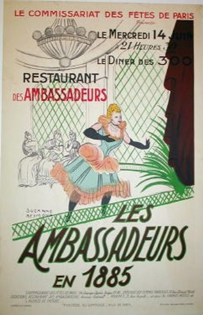 Les Ambassadeurs en 1885 by S. Reymond original advertising lithography vintage poster from 1940s France