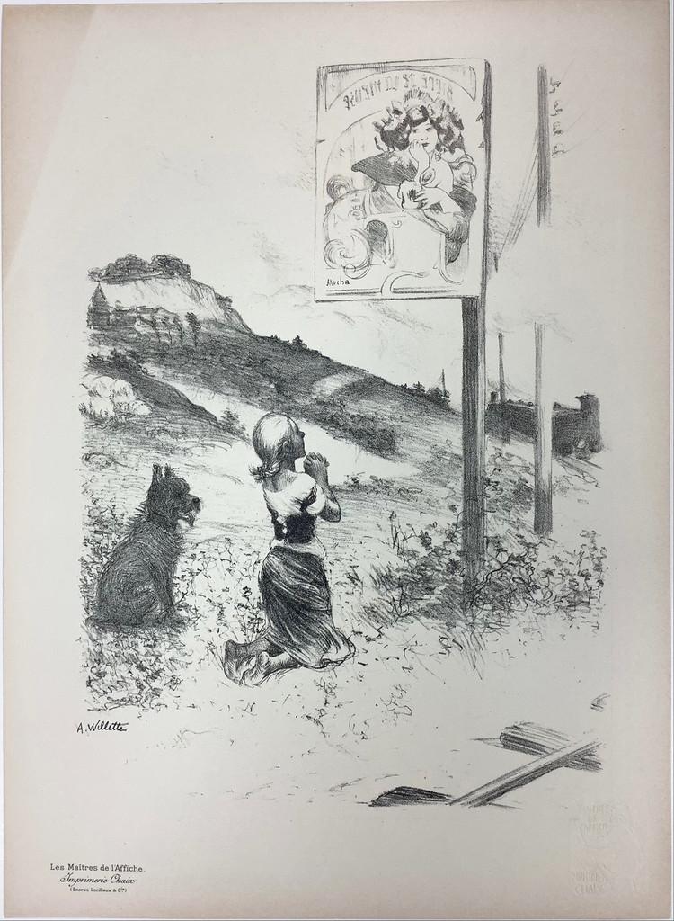 The Pious Error Original Les Maitres De L'Affiche Special Bonus Plate # K by Adolphe Willette from 1899 France. Original Vintage Poster.