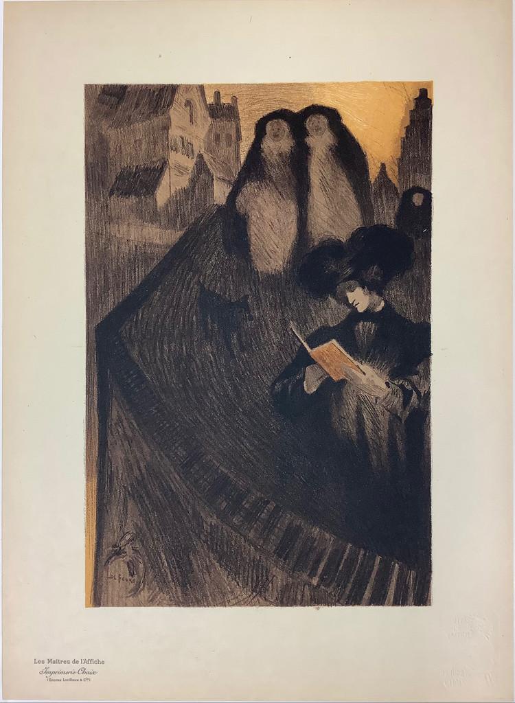 La Lecture Original Les Maitres De L'Affiche Special Bonus Plate # H  by George de Feure from 1898 France. Original Vintage Poster.