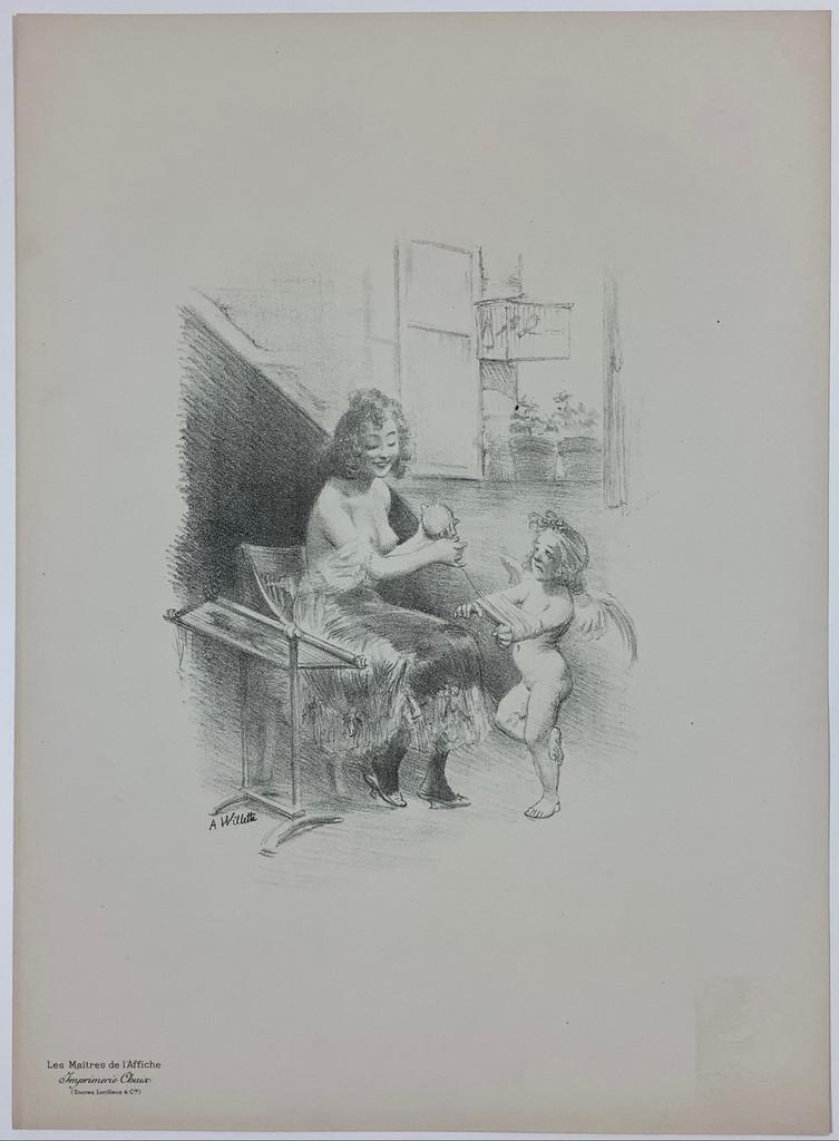 Original Les Maitres De L'Affiche Bonus Plate D by Adolphe Willette from 1897 France. Original Vintage Poster.