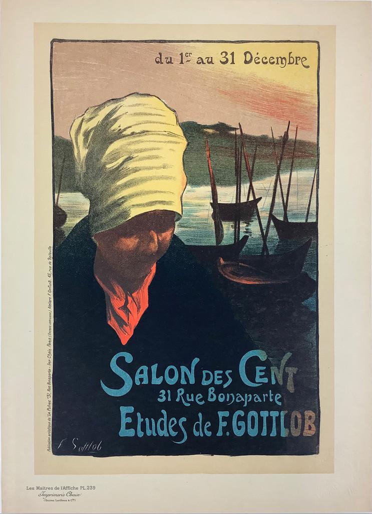 Salon Des Cent Les Maitres De L'Affiche Plate 239 by Fernand Gottlob from 1900 France. Original Vintage Poster.