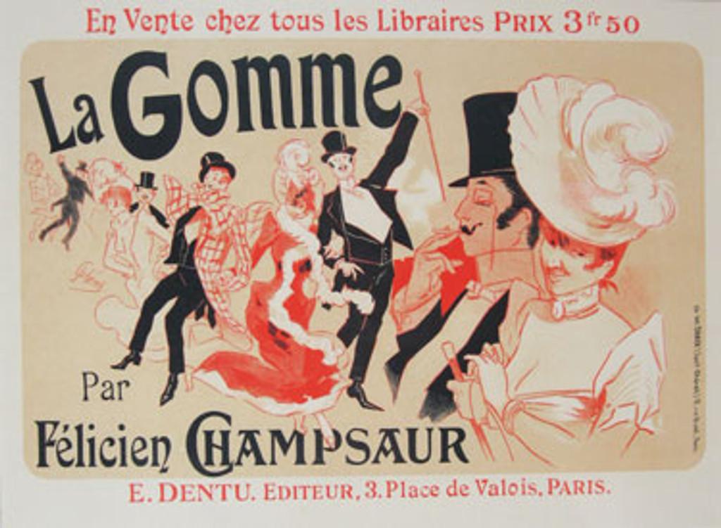 La Gomme original vintage Maitre De L Affiche poster Plate 225 by Jules Cheret from 1900 France