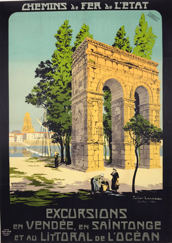 Excursions en Vendee en Saintonge original vintage travel poster by Julien Lacaze from 1912 France.